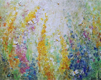 reserved for Nadine Made to Order Flowers Garden in Bloom Bees and Butterflies Original Painting Impasto Art by Luiza Vizoli