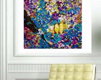SPRING Romance Purple Blossom Original Painting Flowers Impasto Love Birds Abstract Art