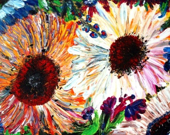 ENDLESS BLOSSOM Original Oil Painting Palette Knife Impasto on Canvas Large Painting
