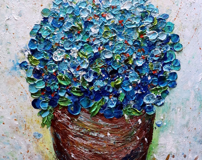Forget me Not Flowers Blue Bouquet in a Ceramic Brown Pot Oil Painting on Canvas 20x20