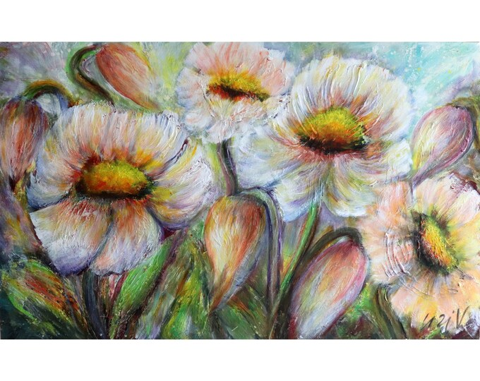 FLOWERS BLOOMING Large Painting 48x30 Original Art White Flowers in Bloom Impasto Textured Canvas by Luiza Vizoli