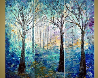 WINTER FOREST Original Oil Painting Multi Panel Wall Art Decor Palette Impasto Large Artwork Triptych