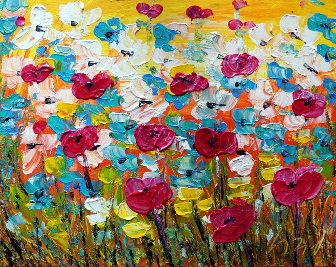 Spring Flowers Impasto Painting Oil on Canvas Daisies, Forget-Me-Not, Tulips and Daffodils