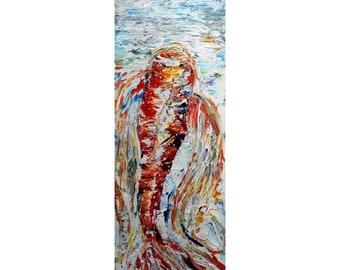 Koi Fish Oil Painting Tall vertical wall art ORIGINAL Water Abstract, Long Narrow wall decor for staircase, bathroom, entryway