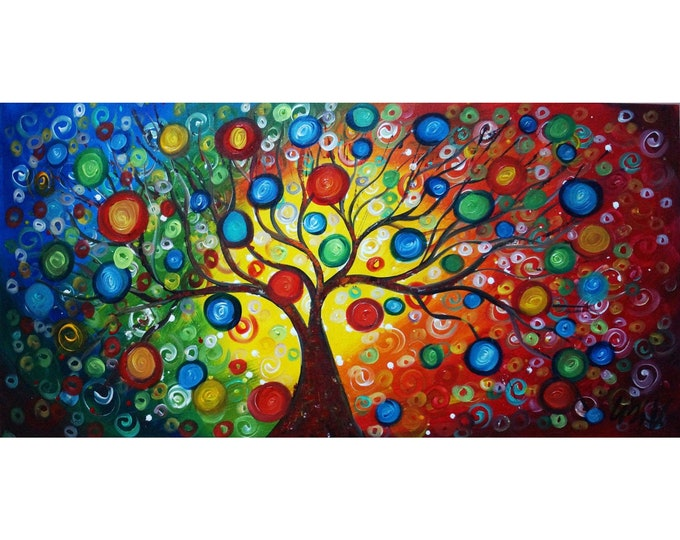 SEASONS of Joy Original Painting Large Canvas Whimsical Tree Landscape Art by Luiza Vizoli 48x24