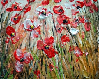 Oil Painting Wildflowers Field Floral Art Impasto on Canvas Small Canvas Made to Order