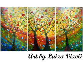 HAPPY FAMILY TREES 72x36 Original Large Painting Upscale Huge Canvases Landscape Whimsical Art by Luiza Vizoli