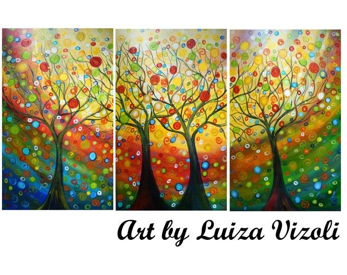 HAPPY FAMILY TREES Original Large Painting Upscale Huge Canvases Landscape Whimsical Art by Luiza Vizoli