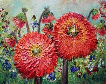 Dahlias Fall Flowers Orange Yellow Wildflowers Painting Oil Artwork Ready to Ship