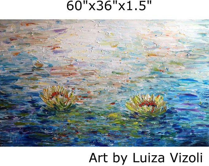 Extra LARGE Painting Abstract Water Lilies Conversation with Monet 60x36 Original Textured Art Ready to Ship