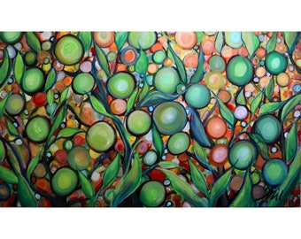Lemon Lime Citrus Tree Whimsical Original Painting Large Canvas 60x36 Colorful Bohemian Landscape Art by Luiza Vizoli