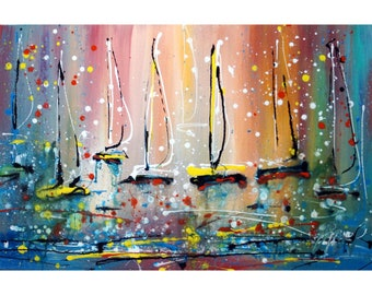 SUNRISE Original Painting Inspired by Pollock Boats Sunset on the Lake Art by Luiza Vizoli