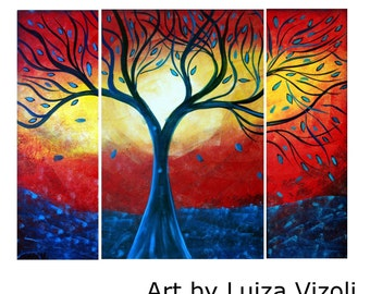 Blue Rain Red Sunset Original Oil Painting Large Abstract Water and Fire Art by Luiza Vizoli