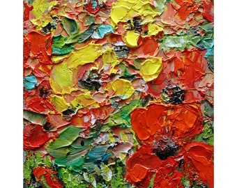 Yellow Roses Red Lily Flowers Abstract Painting Oil Impasto ORIGINAL Art on Canvas