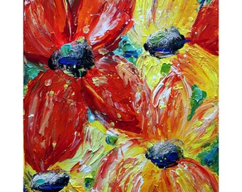 Red Yellow Summer PETUNIA Flowers Original Handmade Painting Modern Floral Artwork