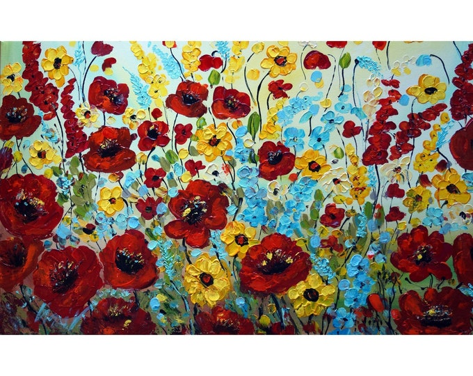 Flowers of Italy Tuscany Meadow Impasto Colorful Modern Large Painting Original Art by Luiza Vizoli