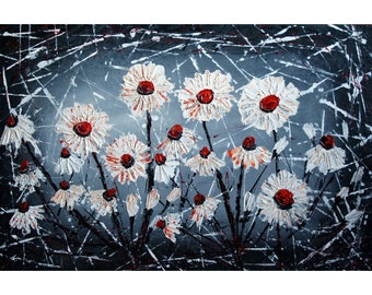 White Black Gray Flowers MOONLIGHT GARDEN Original Palette Knife Impasto Oil Floral Painting