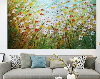 Daisy Flowers Fields Large Painting Original Handmade 60x36x1.5 Canvas ready to ship Ready to Hang Art by Luiza Vizoli