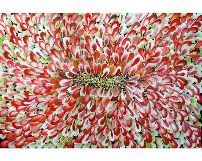 Orange Cream Green FALL SUMMER BLOOM Petals Abstract Floral Petals Original Painting Art by Luiza Vizoli
