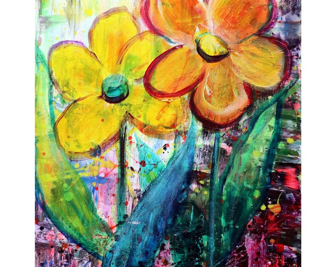 My BEST FRIEND NEW Modern Abstract Modern Pop Art Flowers in Yellow Bright Fun Neon Colors Art by Luiza Vizoli
