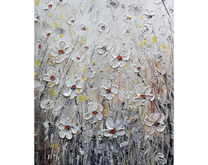 Oil Impasto WHITE FLOWERS DAISY Gorgeous Colors  Original Painting Textured One of a Kind Ready to Ship