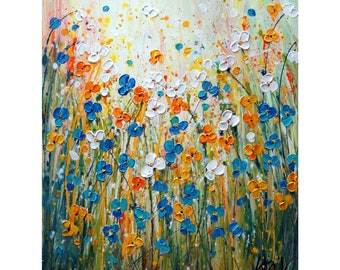 MORNING Bliss Daisy Flowers Abstract Pollock Inspired Original Painting on Large Canvas Art by Luiza Vizoli