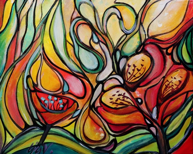 Happy Morning FLOWERS Abstract Floral Edwardian Original Painting Boho Colorful Whimsical Art by Luiza Vizoli