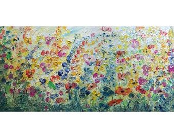 FRESH Flowers Field WILDFLOWERS Oil Painting Impasto Large Canvas TUSCANY Meadow Art by Luiza Vizoli