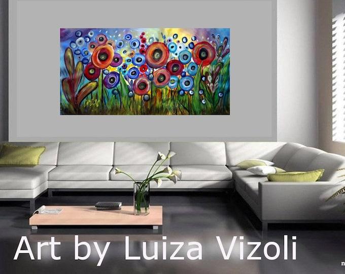 RAIN FLOWERS 60x36 Art Painting Abstract Original Fantasy Huge Acrylic Landscape Poppy Flowers