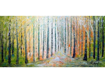 SPRING TREES Landscape FOREST Abstract Impasto Oil Painting by Luiza Vizoli Large Canvas ready to hang