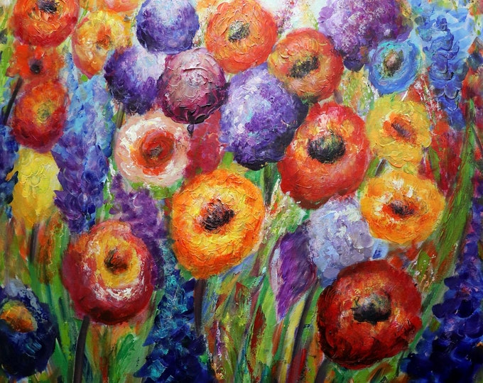 Fall Flowers Garden Original Handmade Bold Beautiful Colorful Oil Painting Large Oil Canvas 36x36