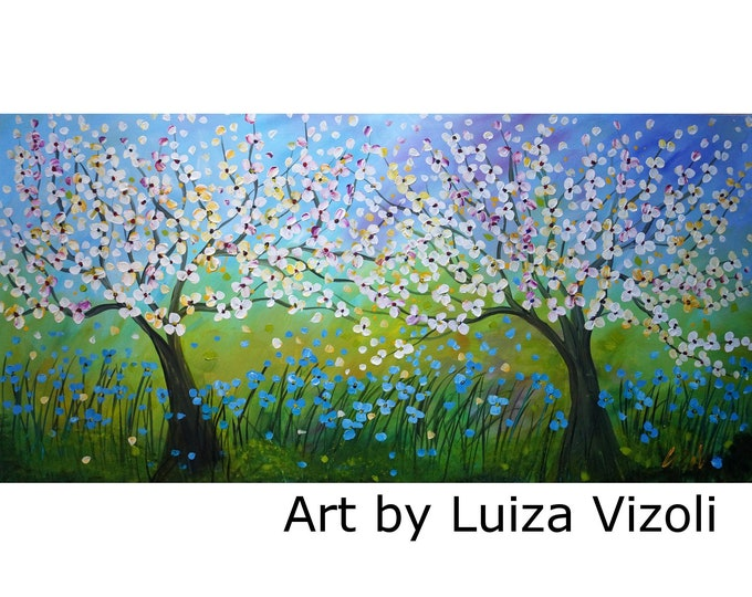 XXL Canvas Large Spring Landscape 60x36 Canvas Painting  ready to hang Original Art for Office Business Art by Luiza Vizoli
