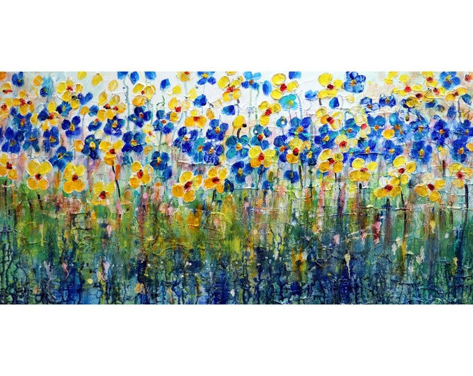 Forget Me Not Daisy Abstract Wildflowers Blue Yellow White  Impasto Textured Original Oil Painting Modern Home Wall Decor