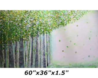 XXL Painting 60x36 Spring Green BIRCH TREES on White Impasto Large Original Painting Ready to Hang