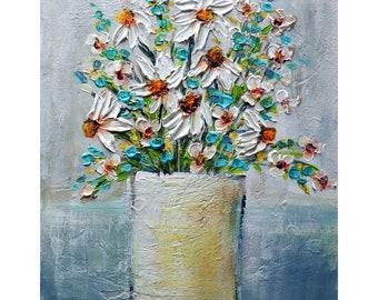 Daisy Bouquet Original Oil Painting Impasto Textured Floral White Gray Aqua Blue Colors Modern Art on Canvas
