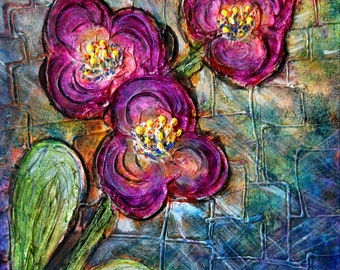 PURPLE ORCHID Original Textured Oil Painting EXOTIC Floral Art on Canvas
