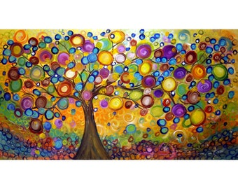 Extra Large Landscape 60x30 Modern Tree Colorful Sunrise Summer Canvas Art by Luiza Vizoli