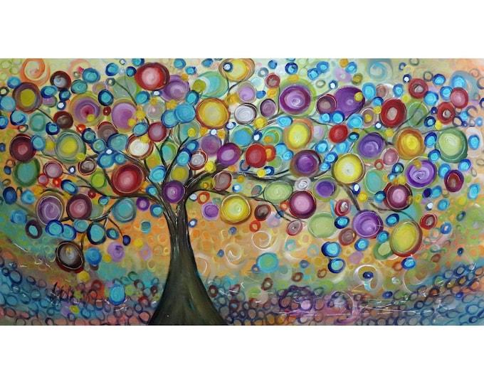 Extra Large Landscape 64x36 Modern Tree Colorful Whimsical TREE Sunrise Summer Canvas Art by Luiza Vizoli