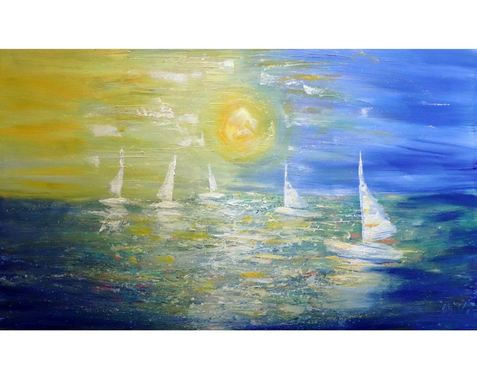 Abstract and Modern Painting Sailing Boats Sunset Ocean 60x36 Extra Large Painting