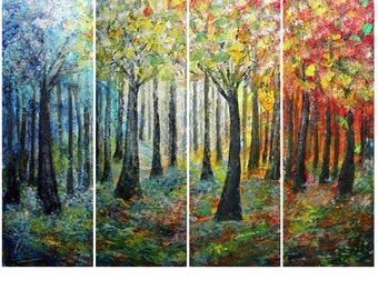 Extra Large Painting Set of  4 canvases TREES in BLOOM Seasons and Colors Art by Luiza Vizoli 48x36