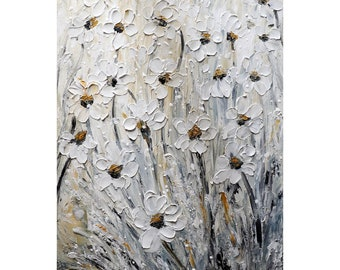 White Daisy Carried by The Wind Oil Impasto Original Painting in Shades of White Cream Gray Art for Your Home