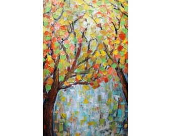 Fall Splendor Changing Colors Leaves Tree Landscape Oil Painting on Large Canvas