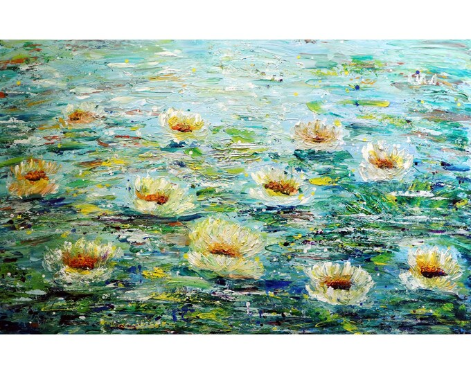 Extra Large Painting  Homage to Monet Lily Pond ABSTRACT WATER Flowers Impasto XL Painting Blue Green White Cream ready to ship