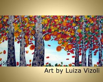 Fall Birch Leaves Original Modern Contemporary Trees Landscape Autumn Impasto Oil Large Painting on Canvas by Luiza Vizoli