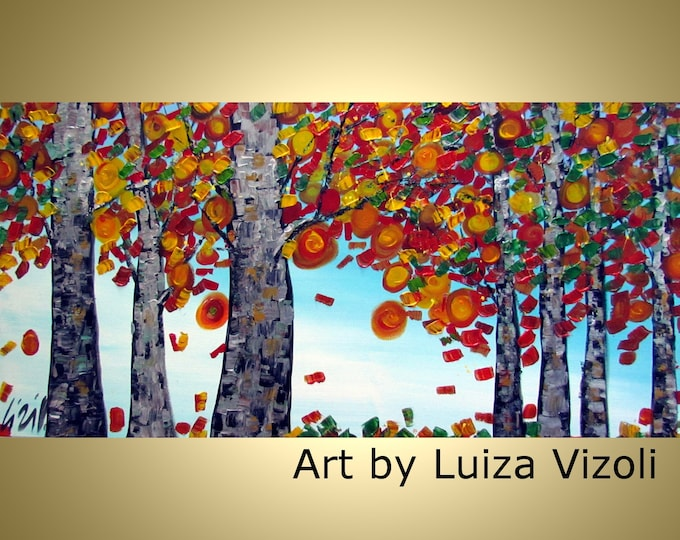 Fall Birch Leaves Original Modern Contemporary Trees Landscape Autumn Impasto Oil Large Painting on Canvas by Luiza Vizoli