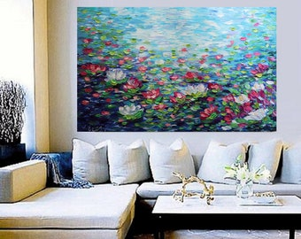 XXL Lily Pond 60x36 breathtaking Water Flowers Monet Inspired Abstract Painting Office Art Oil Large Canvas