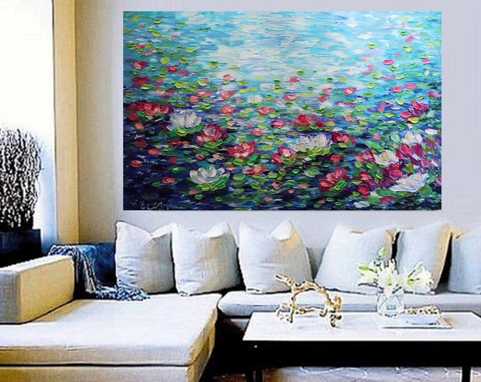Lily Pond 60x36 breathtaking Water Flowers Monet Inspired Abstract Painting Office Art Oil Large Canvas