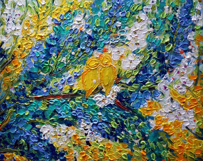 Yellow Birds LOVE is in the AIR Spring Oil Impasto Textured Abstract Whimsical Colorful Painting
