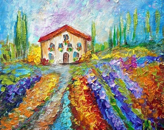 With Love from Italy Spring Flowers Original Modern Impasto Oil Painting Colorful Landscape PROVIDENCE