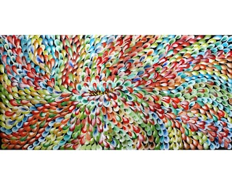 Abstract Flowers Leaves Petals THROUGH SEASONS Original Painting on Large Canvas